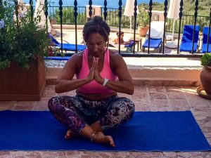 Lorraine's picture for her new yoga website